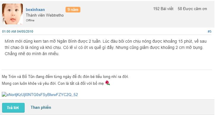 Review kem tan mỡ Ngân Bình webtretho, kem tan mỡ Ngân Bình webtretho
