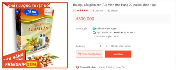 Bột ngũ cốc giảm cân Tuệ Minh được bán trên Shopee với giá chỉ 300.000 VNĐ