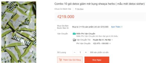Thuốc giảm cân Six Herbs được bán tách gói trên shopee